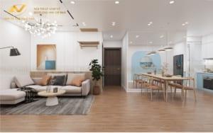 Thiết kế nội thất chung cư 68m2 Anh Cường K35 Tân Mai phong khách 1