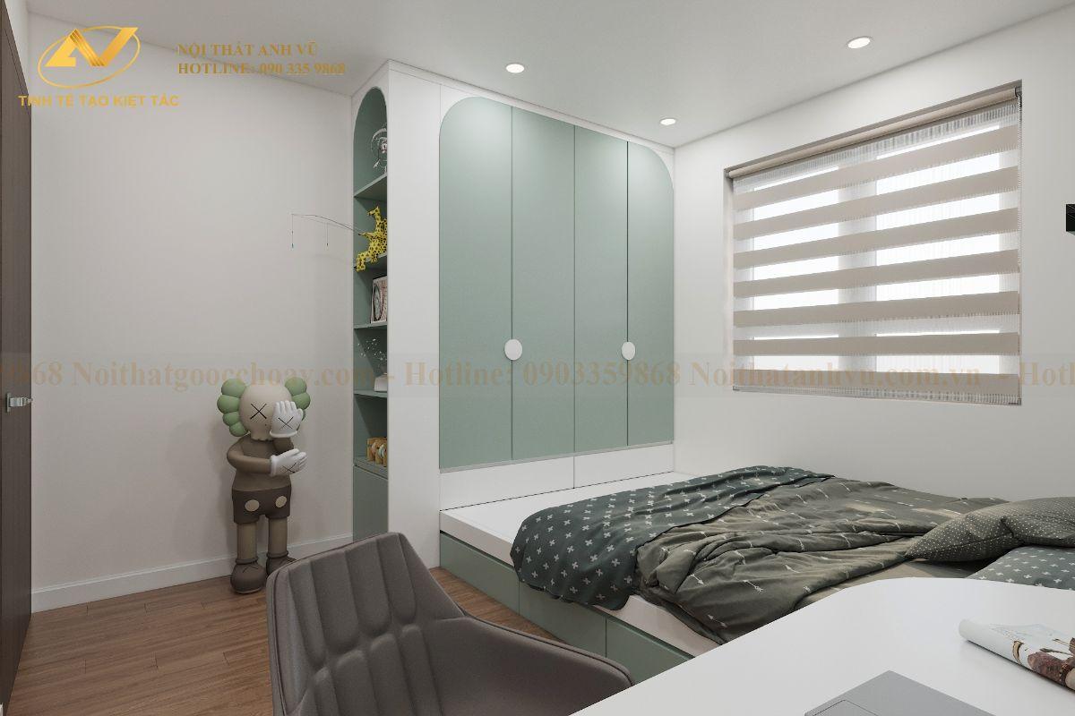 Thiết kế nội thất chung cư 68m2 Anh Cường K35 Tân Mai phòng ngủ cho bé 3