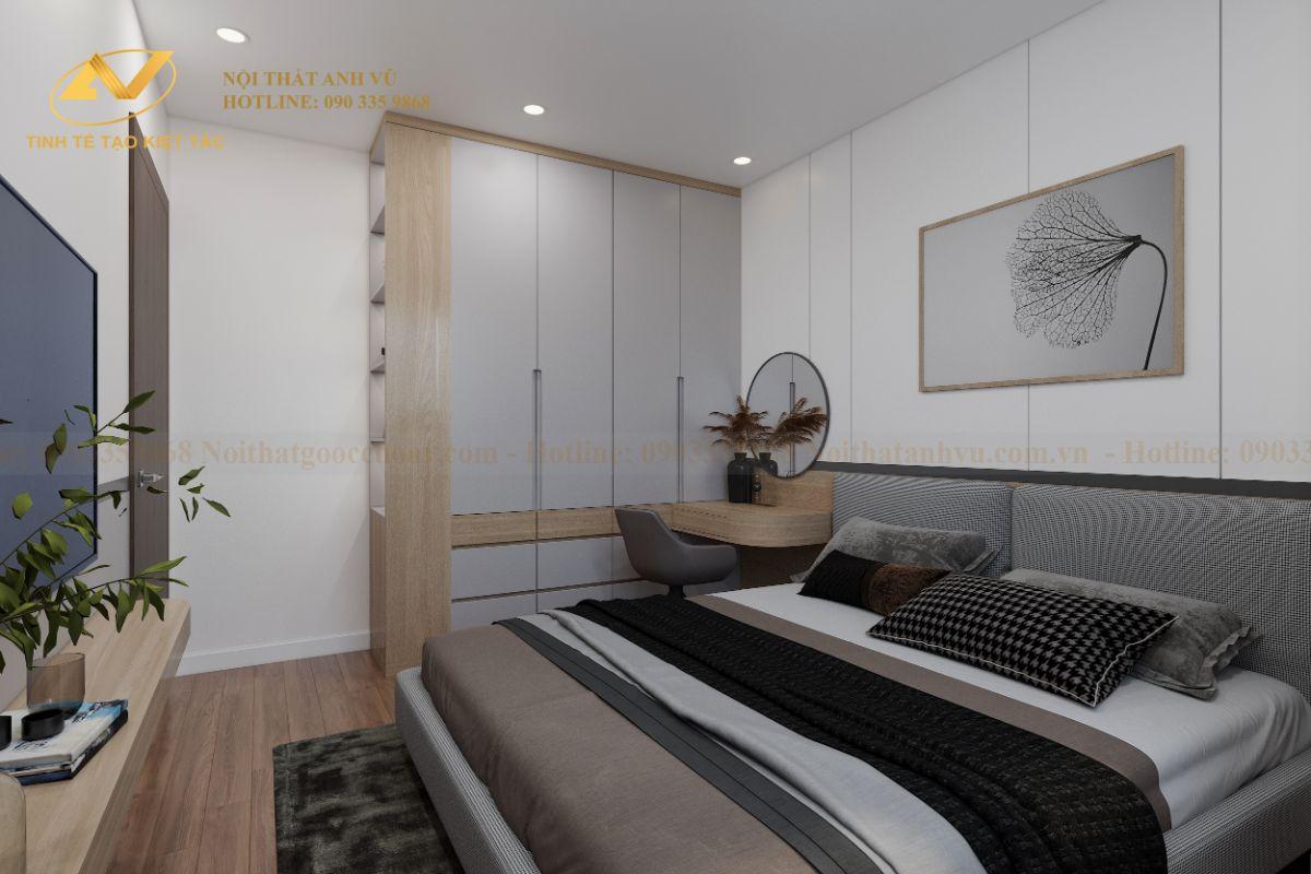 Thiết kế nội thất chung cư 68m2 Anh Cường K35 Tân Mai phòng ngủ master 2