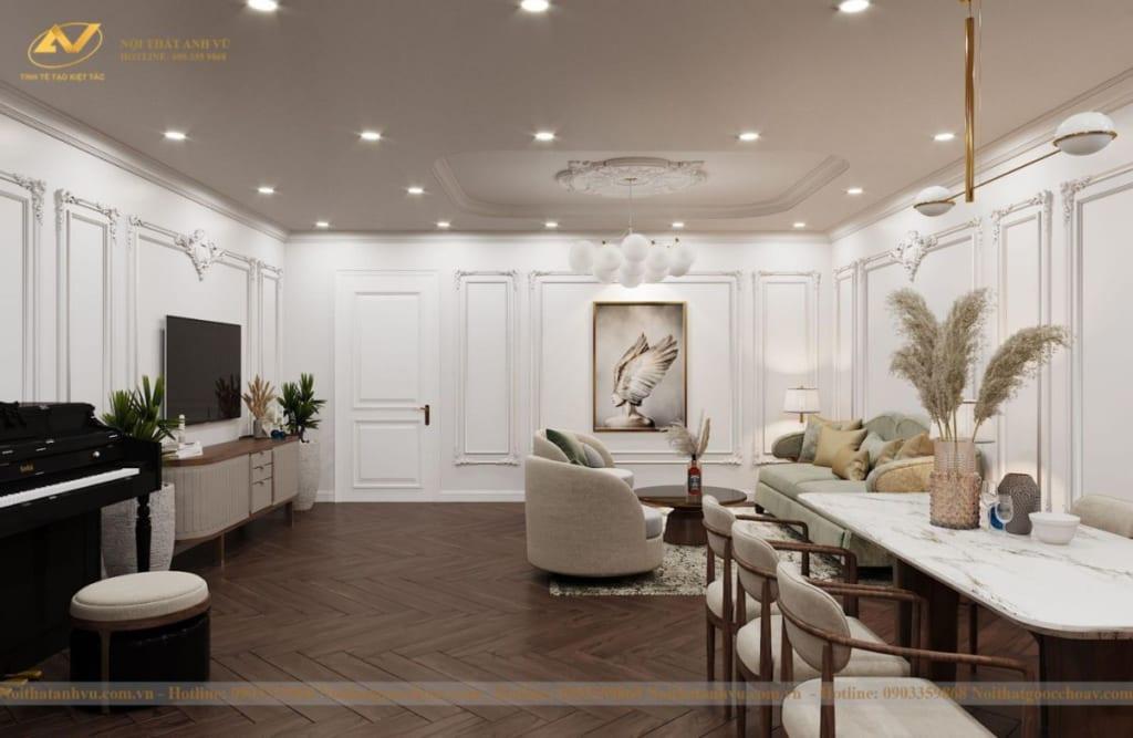 Thiết kế nội thất nhà phố tân cổ điển Mr Huy tầng 4-54