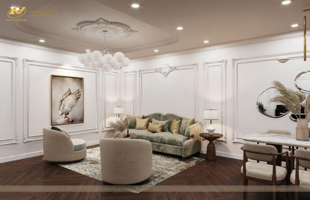 Thiết kế nội thất nhà phố tân cổ điển Mr Huy tầng 4-55
